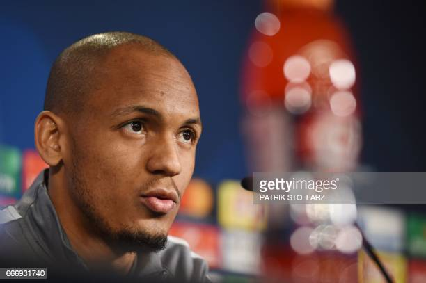 Monaco's Brazilian defender Fabinho answers questions during a press conference in Dortmund on April 10 2017 on the eve of the Champions League...
