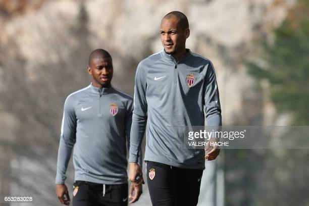 Monaco's Brazilian defender Fabinho arrives for a training session on the eve of their UEFA Champions League football match Monaco against Manchester...