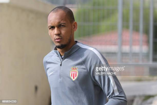 Monaco's Brazilian defender Fabinho arrives for a training session on the eve of their UEFA Champions League football match against Dortmund on April...