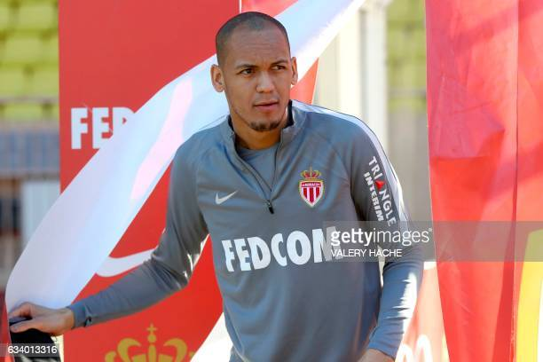 AS Monaco's Brazilian defender Fabinho arrives to take part in a football training session on February 6 2017 at the 'Louis II Stadium' in Monaco /...