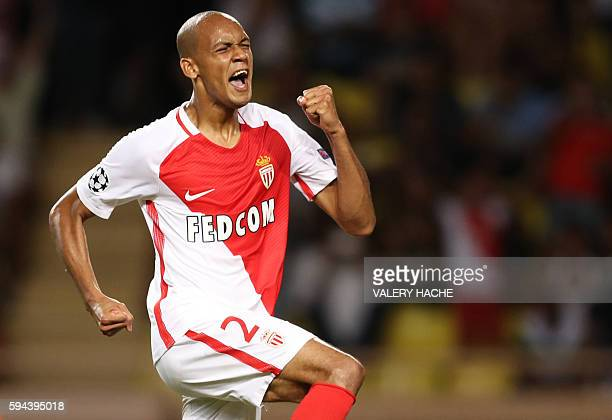 Monaco's Brazilian defender Fabinho celebrates after scoring a goal during the UEFA Champions League second leg play off football match between AS...