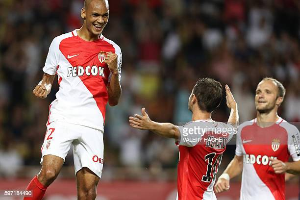 Monaco's Brazilian defender Fabinho celebrates after scoring a goal during the French Ligue 1 football match Monaco versus ParisSaintGermain on...