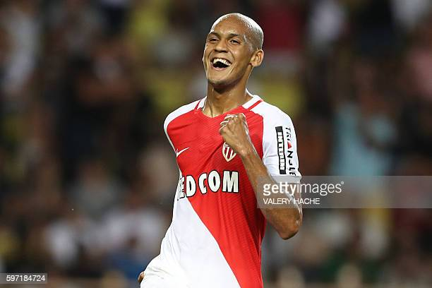Monaco's Brazilian defender Fabinho celebrates after scoring a goal during the French Ligue 1 football match Monaco versus ParisSaintGermain on...