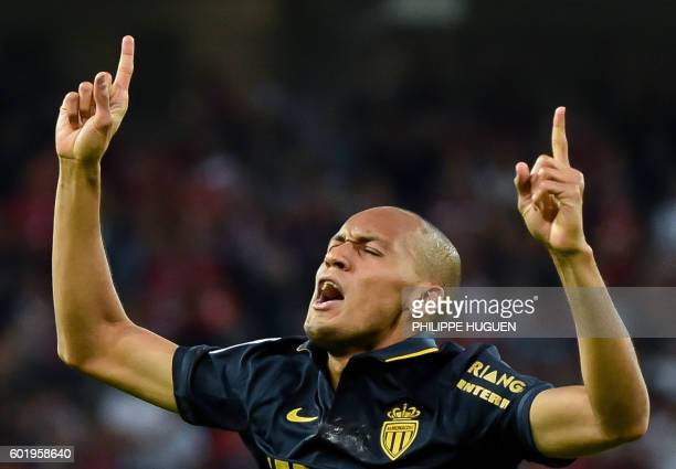 Monaco's Brazilian defender Fabinho celebrates after scoring a goal during the French L1 football match between Lille OSC and AS Monaco FC at the...