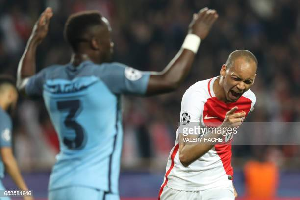 TOPSHOT Monaco's Brazilian defender Fabinho celebrates after scoring a goal during the UEFA Champions League round of 16 football match between...