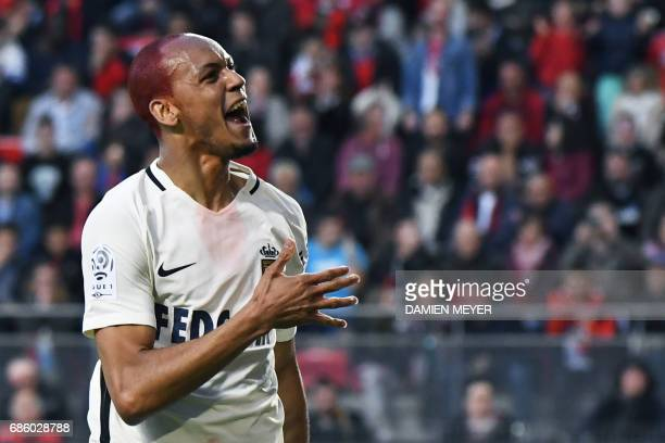 Monaco's Brazilian defender Fabinho celebrates after scoring a goal during the French L1 football match between Rennes and Monaco on May 20 2017 at...