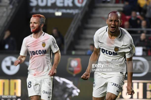 Monaco's Brazilian defender Fabinho celebrates close to Monaco's French forward Valere Germain after scoring during the French L1 football match...