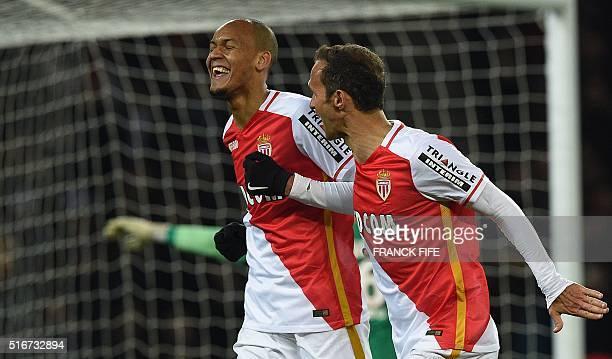 Monaco's Brazilian defender Fabinho celebrates with Monaco's Portuguese defender Ricardo Carvalho after scoring a goal during the French L1 football...