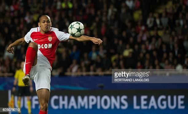 Monaco's Brazilian defender Fabinho controls the ball during the UEFA Champions League group E football match AS Monaco and Tottenham Hotspur FC at...