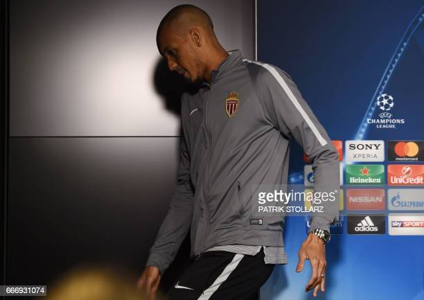 Monaco's Brazilian defender Fabinho leaves a press conference in Dortmund on April 10 2017 on the eve of the Champions League football match between...