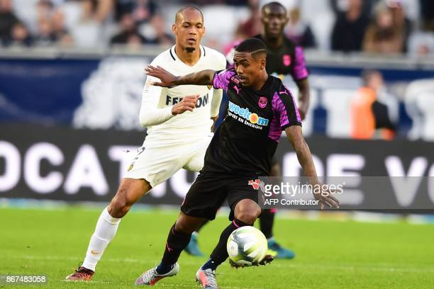 Monaco's Brazilian defender Fabinho vies with Bordeaux's Brazilian forward Malcom during the French L1 football match between Bordeaux and Monaco on...