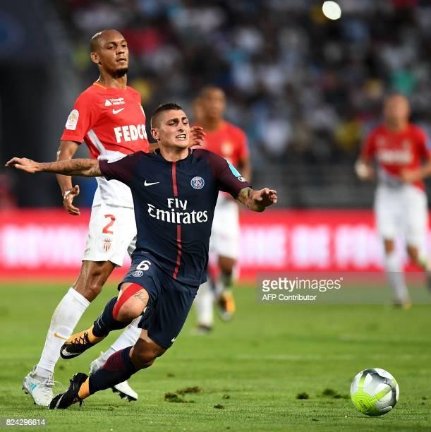 Monaco's Brazilian defender Fabinho vies with Paris SaintGermain's Italian midfielder Marco Verratti during the French Trophy of Champions football...