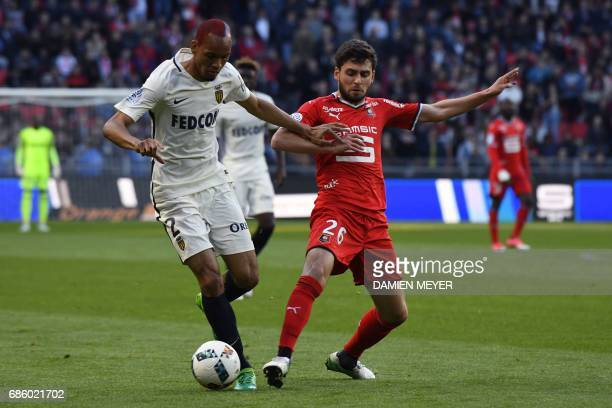 Monaco's Brazilian defender Fabinho vies with Rennes' French midfielder Sanjin Prcic during during the French L1 football match between Rennes and...