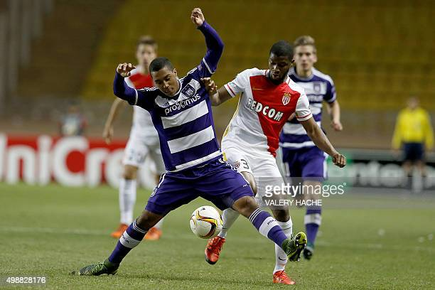 Monaco's Brazilian defender Fortuna Dos Santos Wallace vies for the ball with Anderlecht's Belgian midfielder Youri Tielemans during a UEFA Europa...