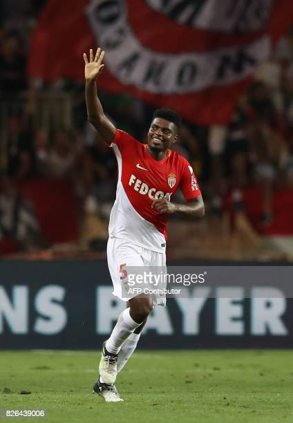 Monaco's Brazilian defender Jemerson celebrates after scoring a goa during the French L1 football match Monaco vs Toulouse on August 4 2017 at the...