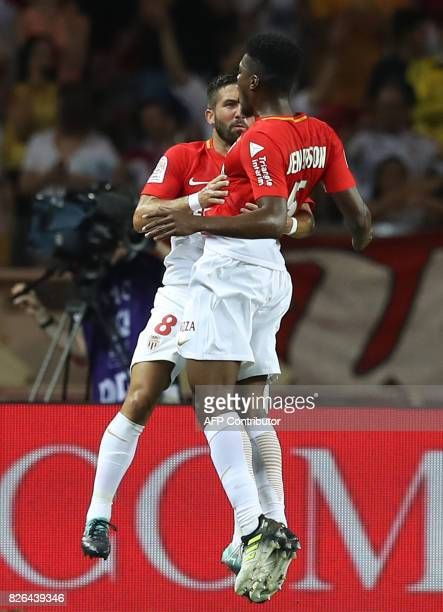 Monaco's Brazilian defender Jemerson celebrates with Monaco's Portuguese midfielder Joao Moutinho after scoring a goal during the French L1 football...