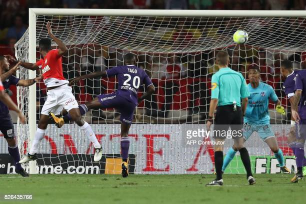 Monaco's Brazilian defender Jemerson scores a goal during the French L1 football match between Monaco and Toulouse at Louis II Stadium in Monaco on...