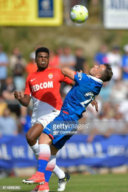 Monaco's Brazilian defender Jemerson vies with Stoke City's Swiss forward Xherdan Shaqiri during a friendly football match between AS Monaco and...