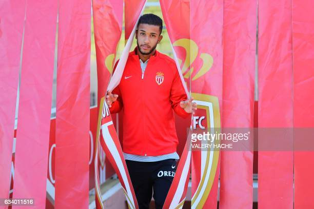 Monaco's Brazilian defender Jorge poses during his official presentation at the AS Monaco football team on February 6 2017 at the 'Louis II Stadium'...