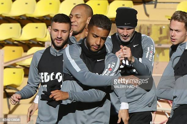AS Monaco's Brazilian defender Jorge takes part in a football training session on February 6 2017 at the 'Louis II Stadium' in Monaco / AFP / VALERY...