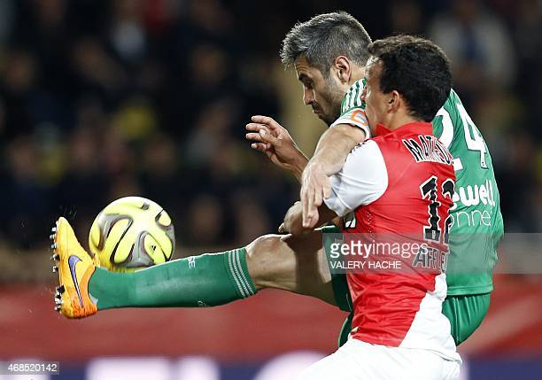 Monaco's Brazilian forward Matheus vies with St Etienne's French defender Loïc Perrin during the French L1 football match between Monaco and Saint...