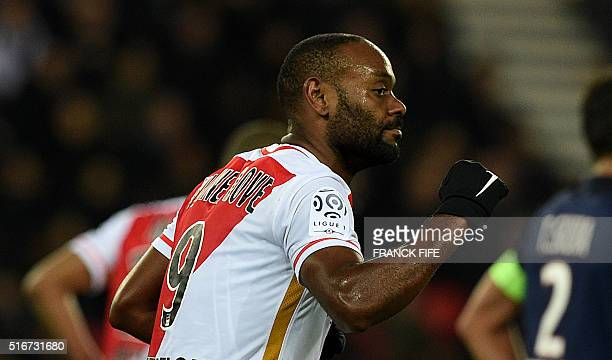 Monaco's Brazilian forward Vagner Love celebrates after scoring a goal during the French L1 football match between Paris SaintGermain and AS Monaco...