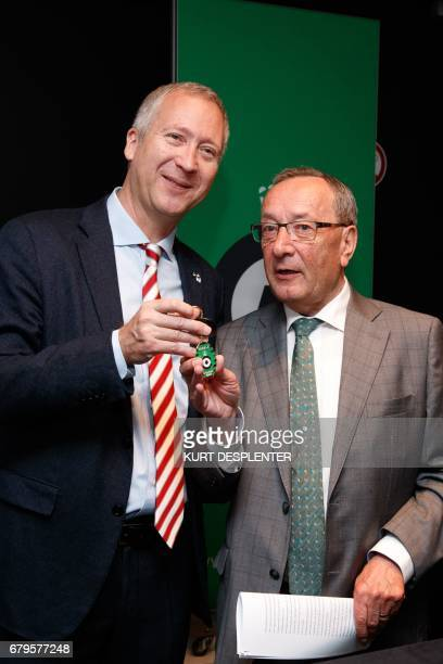 AS Monaco's CEO Vadim Vasilyev and Cercle Bruges' chairperson Frans Schotte pose during a press conference regarding the cooperation between the two...