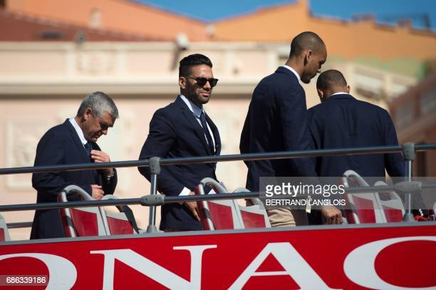 Monaco's Colombian forward Radamel Falcao and Monaco's Brazilian defender Fabinho arrive at the Prince's Palace in Monaco on May 21 to attend...