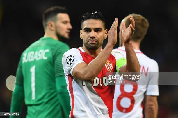 Monaco's Colombian forward Radamel Falcao applauds at the end of the UEFA Champions League Round of 16 firstleg football match between Manchester...