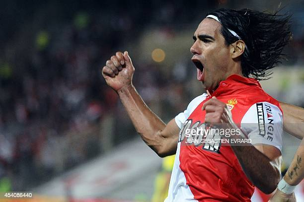Monaco's Colombian forward Radamel Falcao celebrates after scoring a goal during the French L1 football match between FC Nantes and Monaco on August...