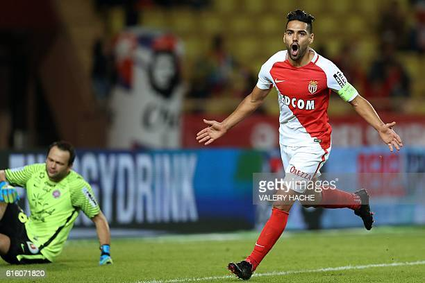 Monaco's Colombian forward Radamel Falcao celebrates after scoring a goal during the French L1 football match between AS Monaco and Montpellier at...
