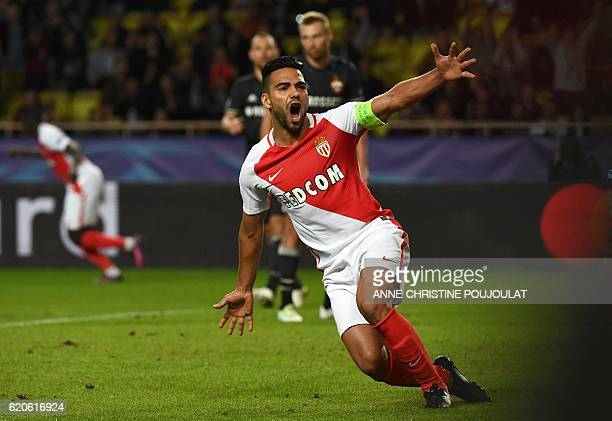 Monaco's Colombian forward Radamel Falcao celebrates after scoring a goal during the UEFA Champions League Group E football match between AS Monaco...