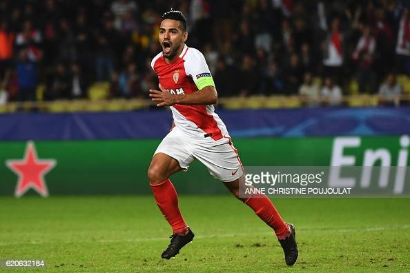 Monaco's Colombian forward Radamel Falcao celebrates after scoring a goal during the UEFA Champions League Group E football match between AS Monaco...