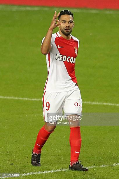 Monaco's Colombian forward Radamel Falcao celebrates after scoring a goal during the French L1 football match Monaco vs Nancy on November 5 2016 at...
