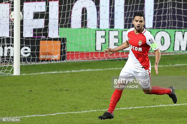 Monaco's Colombian forward Radamel Falcao celebrates after scoring a goal during the French L1 football match Monaco vs Nancy on November 5 2016 at...