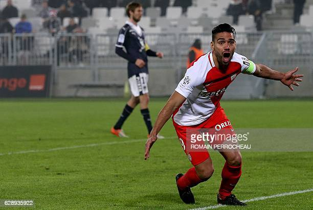 Monaco's Colombian forward Radamel Falcao celebrates after scoring a goal during the French L1 football match between Bordeaux and Monaco at the...