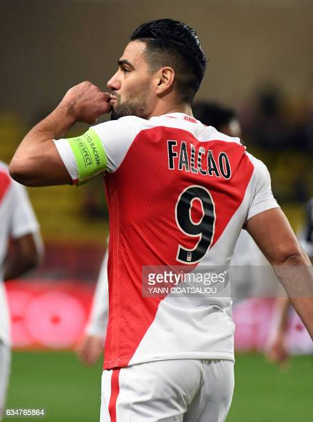 Monaco's Colombian forward Radamel Falcao celebrates after scoring a goal during the French Ligue 1 football match between AS Monaco and Metz at the...
