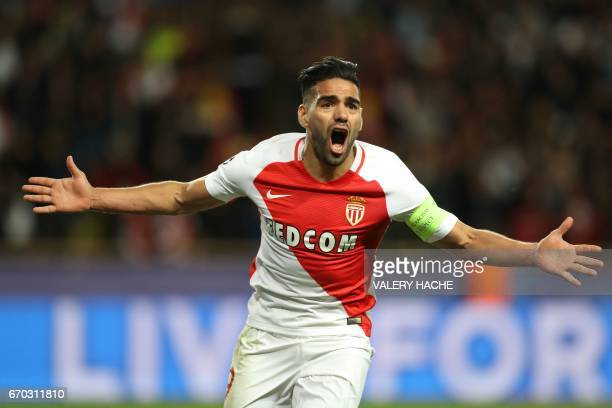 Monaco's Colombian forward Radamel Falcao celebrates after scoring a goal during the UEFA Champions League 2nd leg quarterfinal football match AS...