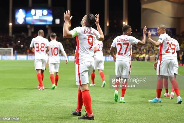 Monaco's Colombian forward Radamel Falcao celebrates after scoring a header during the UEFA Champions League 2nd leg quarterfinal football match AS...