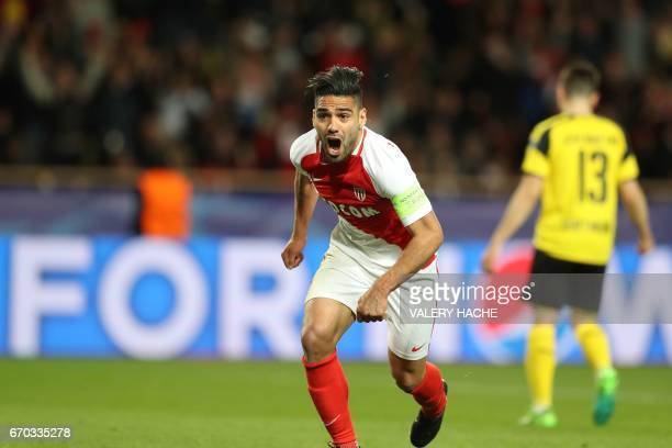 Monaco's Colombian forward Radamel Falcao celebrates after scoring a header during the UEFA Champions League 2nd leg quarterfinal football match AS...
