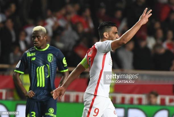 Monaco's Colombian forward Radamel Falcao celebrates after scoring a goal during the French L1 football match between Monaco and Lille at the Louis...