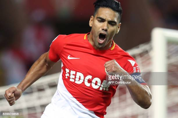 Monaco's Colombian forward Radamel Falcao celebrates after scoring a penalty kick during the French L1 football match between Monaco and Marseille on...
