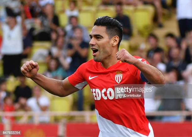 Monaco's Colombian forward Radamel Falcao celebrates after scoring his second goal during the French L1 football match Monaco vs Strasbourg on...
