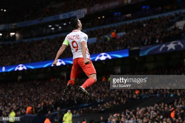 TOPSHOT Monaco's Colombian forward Radamel Falcao celebrates scoring an equalising goal for 11 during the UEFA Champions League Round of 16 firstleg...