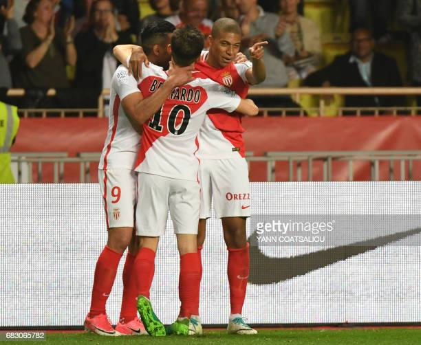 Monaco's Colombian forward Radamel Falcao celebrates with Monaco's Kylian Mbappe Lottin after scoring a goal during the French L1 football match...