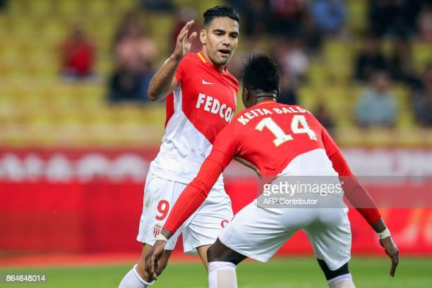 Monaco's Colombian forward Radamel Falcao celebrates with Monaco's Senegalese forward Keita Balde after scoring a goal during the French L1 football...