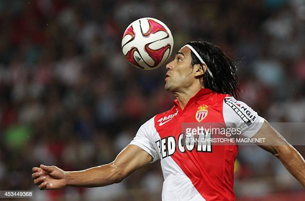 Monaco's Colombian forward Radamel Falcao controls the ball during the French L1 football match Monaco vs Lorient on August 10 2014 at the Louis II...