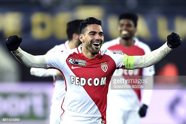 Monaco's Colombian forward Radamel Falcao jubilates at the end of the French League Cup football match Sochaux vs Monaco on January 10 at the Auguste...