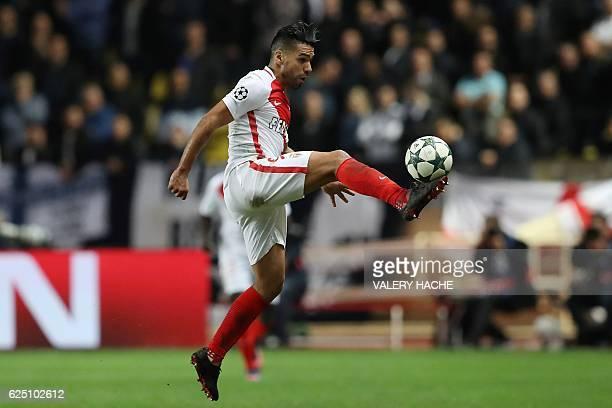Monaco's Colombian forward Radamel Falcao kicks the ball during the UEFA Champions League group E football match AS Monaco and Tottenham Hotspur FC...