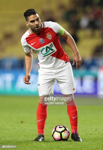 Monaco's Colombian forward Radamel Falcao looks on during the French Cup football match between Monaco vs Lille at the 'Louis II' stadium in Monaco...